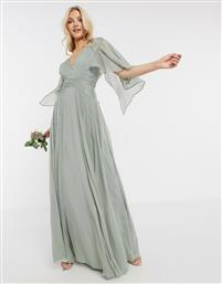 ASOS DESIGN Bridesmaid ruched bodice drape maxi dress with wrap waist and flutter cape sleeve-Green