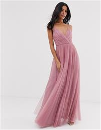 ASOS DESIGN cami pleated tulle maxi dress in rose-Pink