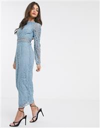 ASOS DESIGN long sleeve pencil dress in lace with geo lace trims dusty blue