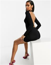 ASOS DESIGN long sleeve sexy back mini dress in black