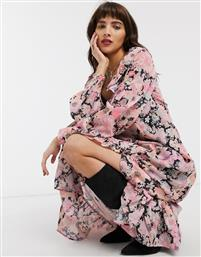 ASOS DESIGN maxi dress with frills in bright floral print-Multi
