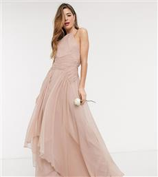 ASOS DESIGN Tall Bridesmaid pinny maxi dress with ruched bodice and layered skirt detail-Pink