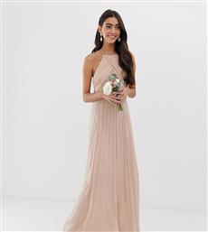 ASOS DESIGN Tall Bridesmaid pinny maxi dress with ruched bodice-Pink