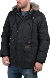 Basehit Jacket Detachable with Fake Fur on Hood Black από το Z-mall