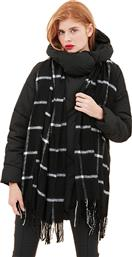ONLY Nalla weaved long wool black scarf check