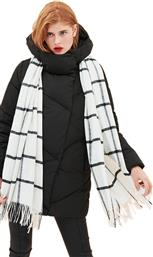 ONLY Nalla weaved long wool white scarf check