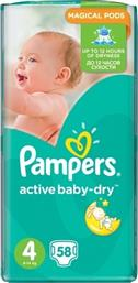 Pampers Active Baby Dry No4 (8-14kg) 58 τμχ
