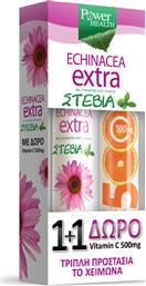 Power Health Echinacea Extra με Στέβια 20 αναβράζοντα δισκία & Vitamin C 500mg 20 αναβράζοντα δισκία